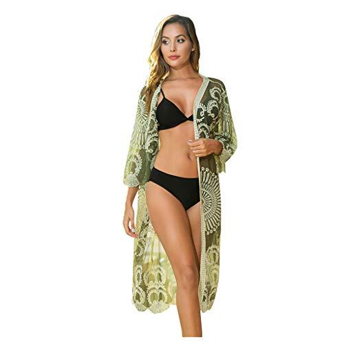 Damen Strand 3/4 sleeve Bluse Tops Bikini Cover up/Bohemia Floral Kimono/SexyHohl Bikini Bluse/Spitze böhmischer Strand Kimono Mantel Strandkleid Bikini Cover Up Strandponcho Badeanzug (Grün)