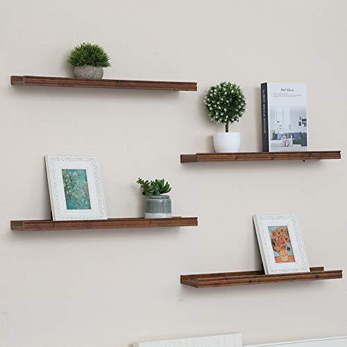Muzilife - Estante de pared (2 unidades, 115 x 12 cm, hasta 10 kg, madera), diseño vintage, para marcos de fotos, libros, CD, cafeterías, habitaciones infantiles