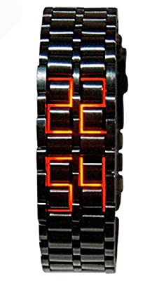 Mastop Men's Lava Stainless Steel Lava RED LED Digital Bracelet Watch (Black Red)