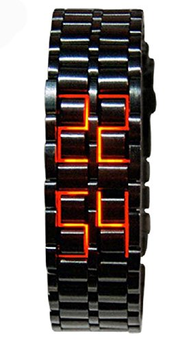 Mastop Men's Lava Stainless Steel Lava RED LED Digital Bracelet Watch (Black Red)