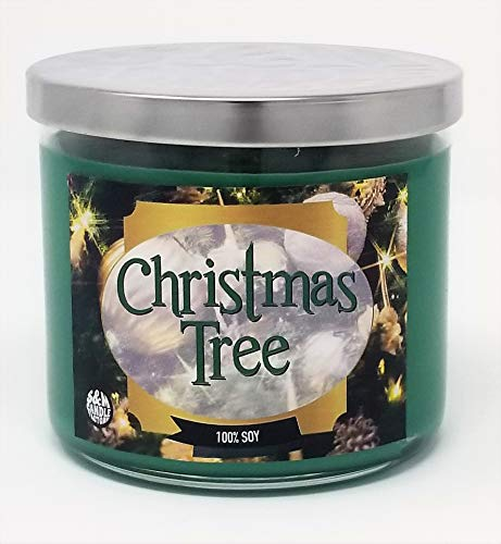 Christmas Tree Scented Candle ~14.5oz Glass 3 Wick Xmas Candle ~ 80 Hour Burn Time ~ Aromatherapy Soy Candles ~ Non-Toxic ~ Made in USA by S&M Candle Factory (14.5 oz, Green)