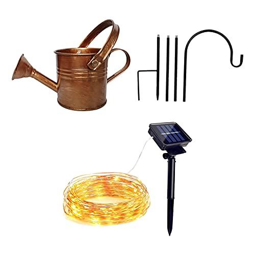 Solar-Wasserfall Giesskanne Lichterkette , Sternendusche Gartenkunst Lichtdekoration LED-Licht Gießkanne Dekoration Spaß Kunst im Freien Lichterkette Dusche + Lampe (Gelb)