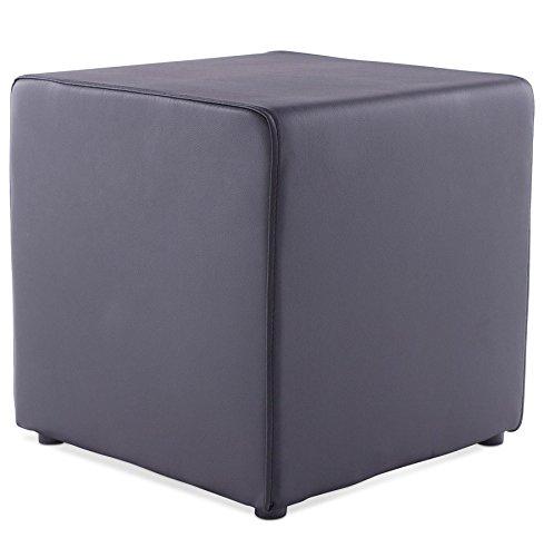 Quai 56 BUMY – Pouf d'appoint - Pouf cube de salon en similicuir – 41 x 41 x 41cm - 2 couleurs au choix : noir ou blanc (1, Noir)