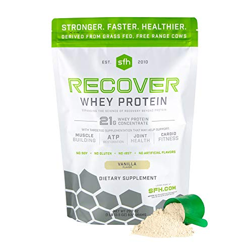 Recover Whey Protein Powder (Vanilla) by SFH   Great Tasting 100% Grass Fed Whey for Post Workout   All Natural   No Soy, No Gluten, No RBST, No Artificial Flavors (Bag)