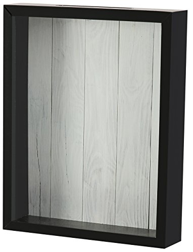 Shadow Box Display Case – Top Loading Black Wood Frame - Showcase Bottle Caps, Shells, Ticket Stubs, Airline Tickets, and More (White)