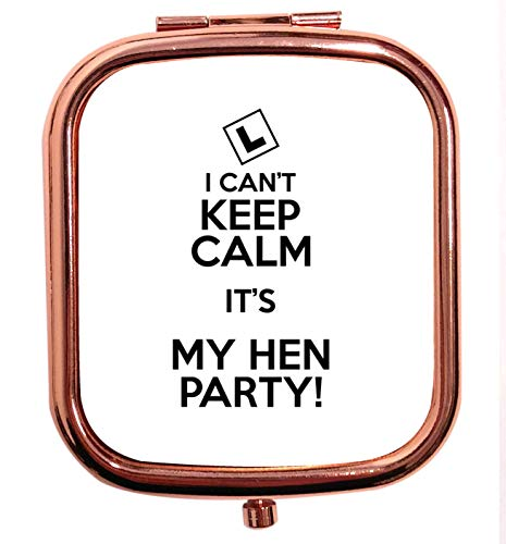 Flox Miroir compact carré carré doré rose ne peut pas garder Calm its my Hen Party Mr