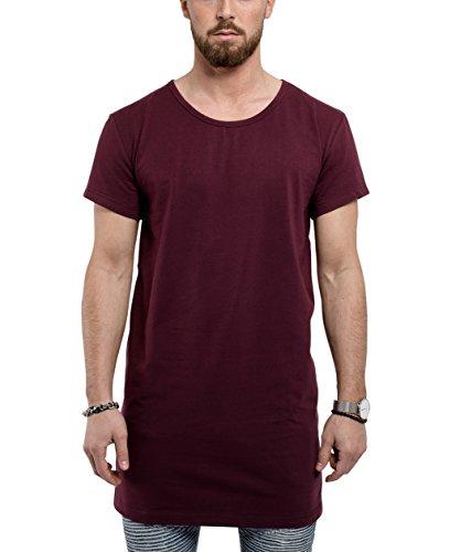 Blackskies Bajo Básico Camisa Larga | Moda Larga Manga Hombres Camiseta de Capa Larga - Vino Tinto Borgoña Pequeña S