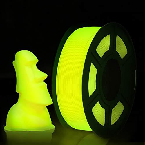 Enotepad Impresora 3D Filamento PLA, PLA Filament Amarillo 1.75mm 1KG Glow in the dark, PLA Lumious Amarillo