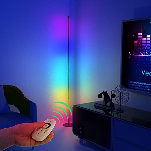 RGB LED Stehlampe Dimmbar mit Fernbedienung,Farbe Wechselnde Moderne Stehlampe, 300+ Farben Effekte, Helligkeit & Geschwindigkeit einstellbare Ecke Licht, 16 Millionen Farben, 157CM 4 Sektion Lampe