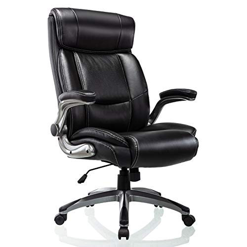 Office Chair High Back Leather Executive Computer Desk Chair - Flip-up Arms and Adjustable Tilt Angle Swivel Chair Thick Padding for Comfort and Ergonomic Design for Lumbar Support (49-Black)