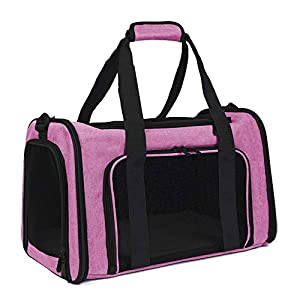 EOOORL Cat Carriers Dog Carrier Pet Carrier for Small Medium Cats Dogs Puppies of 19 Lbs, TSA Airline Approved Small Dog Carrier Soft Sided, Collapsible Puppy Carrier Pink