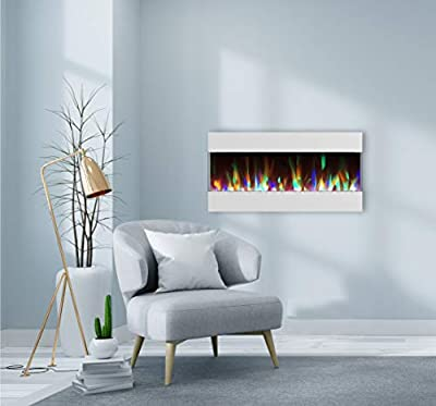 CAMBRIDGE 42 Crystal and LED Color Changing Display, White, CAM42RECWMEF-1WHT Recessed Wall Mounted Electric Fireplace