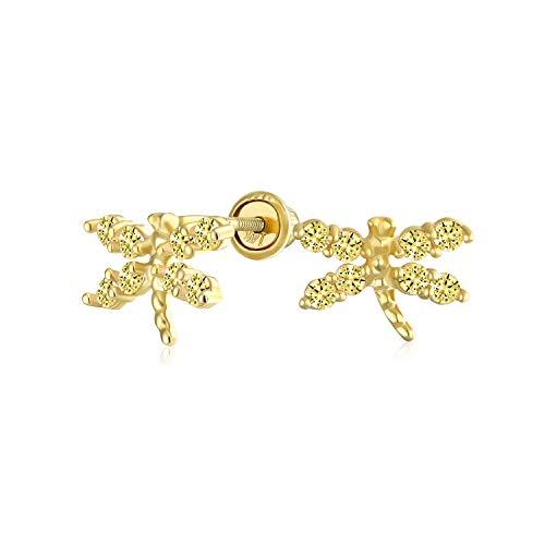 Zirconia Cúbico Diminuta Amarillo Canario Citrino Simulado CZ Dragonfly Mariposa Real Pendiente Boton 14K Yellow Gold