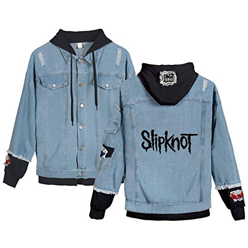 KSRUI Slipknot Langarm Denim Mantel-beiläufige Jacke Outwear für Unisex (4,S)