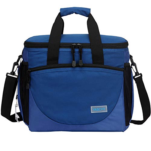 VASCHY Lunch Tasche, 30 Kanister 23 Liter Isolierte Kühlbox Große Kühltasche Auslaufsicheres Lunchpaket Multi-Taschen Picknick-Tasche mit Bier Opener für Reisen, Camping, Strand Blau