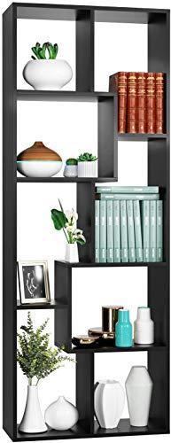 Homfa Scaffale Legno Libreria da Muro Mobile da Terra in MDF per Ufficio, Studio, Ingresso, Disegno Elegante e Moderno 60 × 24 × 160cm (Nero)