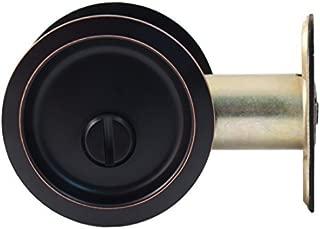 Stone Harbor Hardware, Round Pocket Door Lock Privacy Function, 2.75 inch Backset, Vintage Bronze, HL81309