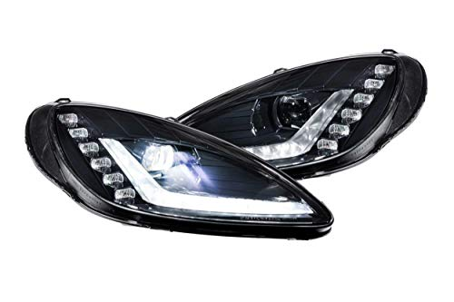 Morimoto XB LED Headlights with sequential DRL, fits 2005-2013 Chevy Corvette Bi-LED Headlights (Black/Set), Plug and Play OEM...