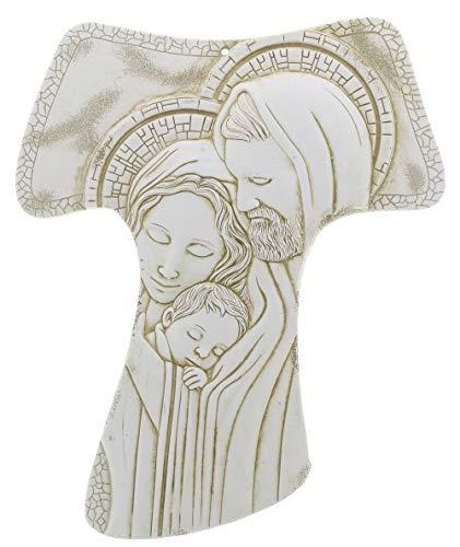 Morani Tau di San Francesco Assisi da Appendere in Polvere di Marmo Sacra Famiglia 15x18cm