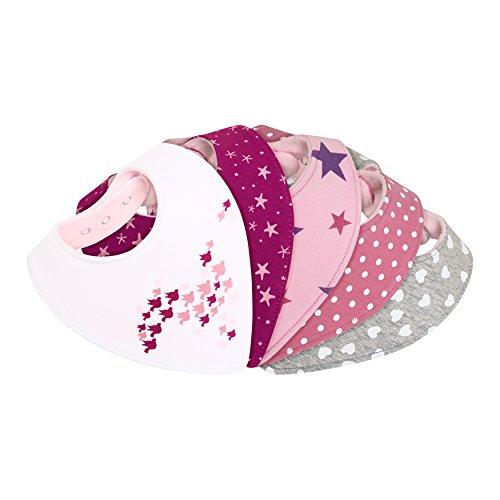 Dreieckstuch Halstuch Baby - saugstark doppellagig weich - Geschenk-Box - Sabberlätzchen Sabber-Tuch Spuck-Lätzchen Sabber-Latz Bandana Sabber-Tücher Mädchen - 6 nickelfreie Druckknöpfe - 5er Set