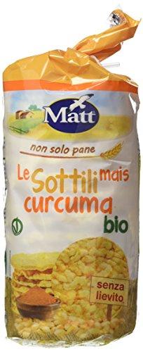 Le Sottili Mais Curcuma bio, Gallette di Mais e Curcuma Senza Lievito, Vegan Ok - 12 Confezioni da 130 gr