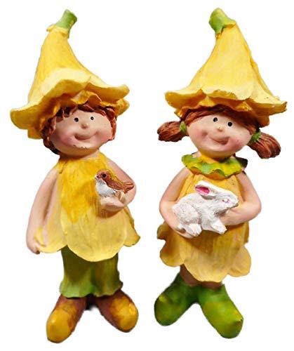 2er Set Junge & Mädchen mit Hase und Vogel 13 x 4 cm Osterglocken Frühling Figur Deko GCG D51