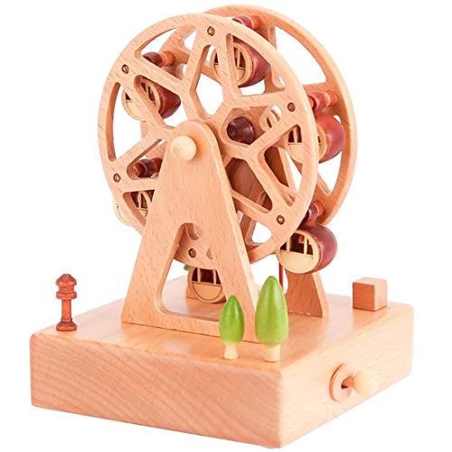 RongDuosi Ferris wiel muziekdoos hemel stad houten muziekdoos creatieve verjaardag geschenk meisje sturen vriendinnen vriendinnen Ferris wiel muziekdoos hemel stad Mooie huis decoratie voor woonkamer
