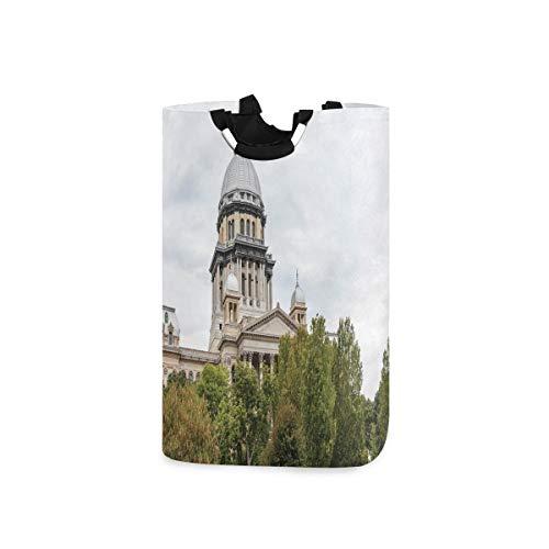 DYCBNESS Cesto para la Colada,Histórico Edificio del Capitolio Estadounidense Springfield Gobernador Política,Cesta de lavandería Plegable Grande,Cesto de Ropa Plegable,Papelera de Lavado Plegable