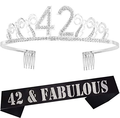 42nd Birthday Gifts for Woman, 42nd Birthday Tiara and Sash Silver, HAPPY 42nd Birthday Party Supplies, 42 & Fabulous Glitter Satin Sash and Crystal Tiara Birthday Crown for 42nd Birthday Party Supply