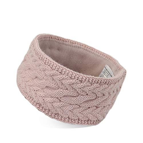irisaa Stirnband Damen gestricktes Haarband Mädchen Häkelarbeit Ohrwärmer gefüttertes Kopfband mit Fleece Innenfutter, stirnband farbe:Pink