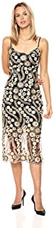Bebe womens 3d Gold Flower Lace Midi Dress Casual Night Out Dress