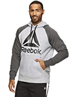 Reebok Men's Performance Pullover Hoodie Sweatshirt - Graphic Hooded Activewear Sweater with Front Pocket - Pyramid Camo Grey Heather, Medium