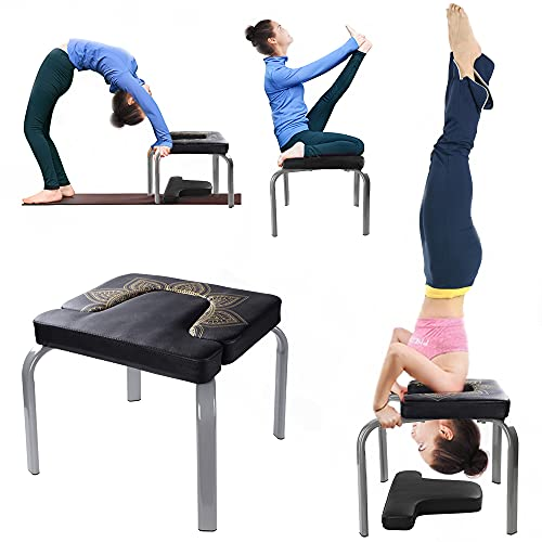 Scool KOKSRY Yoga Headstand Bench, Metal Yoga Inversion Chair Max Load 330lb with PU Pad, Feet Up Trainer for Home,Relieve Fatigue and Shape Body