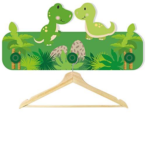 Kindergarderobe für Jungen und Mädchen Motiv Dino / 30 x 16 x 1 cm / aus Stabiler Hartschaumplatte / mit 3 Haken