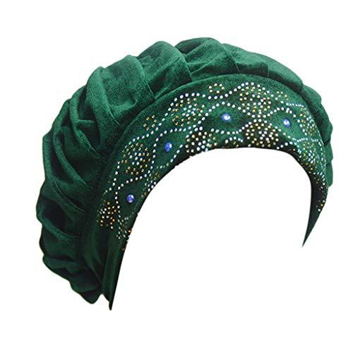 DOLDOA Hut Damen Sommer,Frauen-Ineinander greifen-Langer Schlauch-Turban-Kappen-moslemischer Inder-Verpackungs-Kopf-Hut (Grün)
