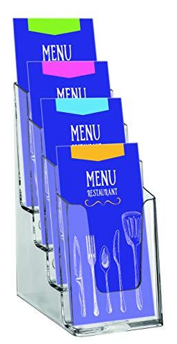OPUS 2 350102 - Porta-folletos de sobremesa, poliestireno reciclable, con 4 compartimentos, para 1/3 A4