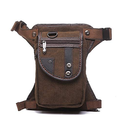 Pouch Packs Motorcycle Multipurpose Waist Bag For Men Canvas Leg Bag Waterproof For Outdoors Hiking Climbing Cycling Travel Bag Multipurpose Daypacks Travel ( Color : Brown , Size : 15*7*26cm )