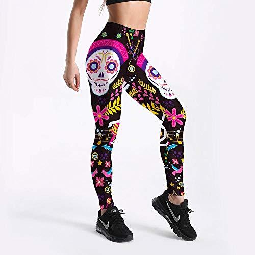 Ropa Deportiva Mujer cómica Entrenamiento Entrenamiento de Fitness Fashion Leggings Digital Print Push Up Mujeres Elástica Force Legging (Size : S)