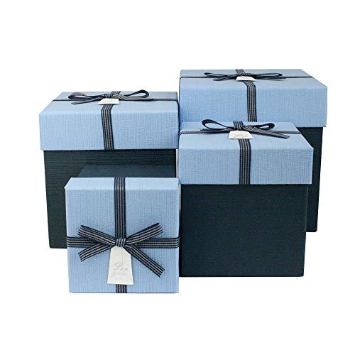 Emartbuy Starrer Luxus Quadratische Pr/äsentations-Geschenkbox Wei/ßem Band und Bedrucktem Interieur Graue Streifen Box mit Grauem Blumenstrau/ß Deckel 18,5 cm x 18,5 cm x 10,5 cm