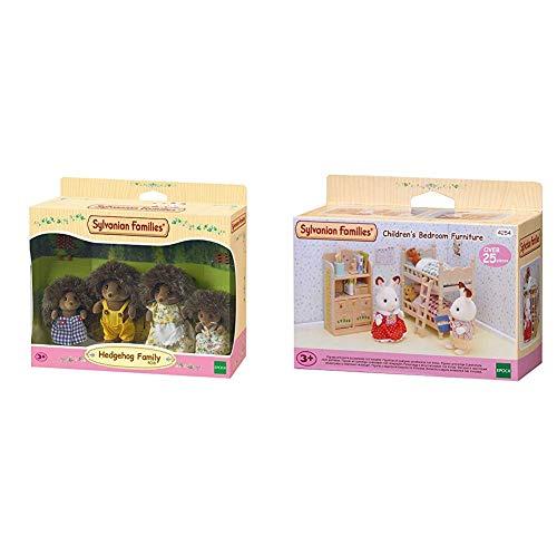 SYLVANIAN FAMILIES Hedgehog Family Mini muñecas y Accesorios,, 20.1 x 15.0 x 5.6 (Epoch para Imaginar 4018) + Children's Bedroom Furniture Mini muñecas y Accesorios, (Epoch para Imaginar 4254)