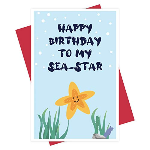 Happy Birthday To My Sea-Star, Funny Birthday Card for Sister, Cute Starfish Card for Sister' s Birthday