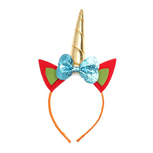 LUOEM Niños Unicornio Cuerno Diadema Brillo Unicornio Aro para el Cabello con Nudo Arco para Fiesta Disfraz Decoración (Azul Cielo)
