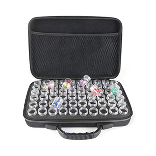 POHOVE 60 Grids Dimond Painting Storage Case,EVA Shockproof Bead Storage Containers Embroidery Storage Box With Double Zipper,Sewing Pills Container Holder Diamond Art Accessory Organizer