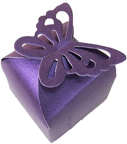 50 piezas púrpura mariposa superior boda fiesta Favor caja regalo regalo titular nupcial ducha fiesta decoración