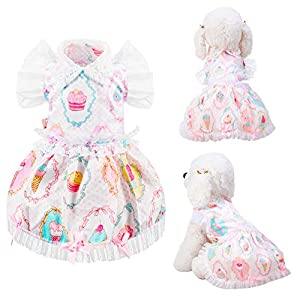 Geyoga 2 Pieces Small Dog Dress Pet Princess Flower Bow-Knot Dress Pet Cute Floral Clothing Apparels for Wedding Holiday New Year Party Small Dogs and Cats Costumes