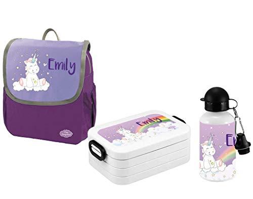 Mein Zwergenland - Brotdosen Sets für Kinder in Einhorn Cutie, Größe SET 3: Rucksack, Brotdose, Trinkflasche