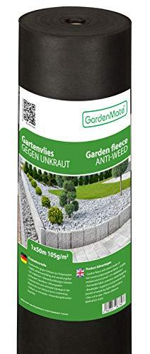 GardenMate 1mx50m Rolle 105g/m² Premium Gartenvlies - Unkrautvlies Extrem Reißfestes Unkrautschutzvlies - Hohe UV-Stabilisierung - Wasserdurchlässig - 1mx50m=50m²