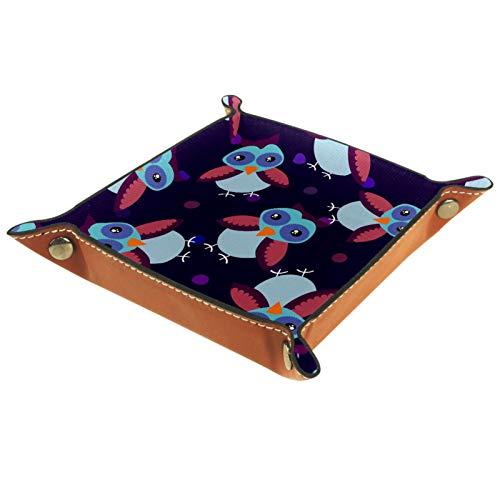 KAMEARI Bandeja de cuero con diseño de búho, color oscuro, para monedas, de piel de vacuno, práctica caja de almacenamiento para carteras, relojes, llaves, monedas