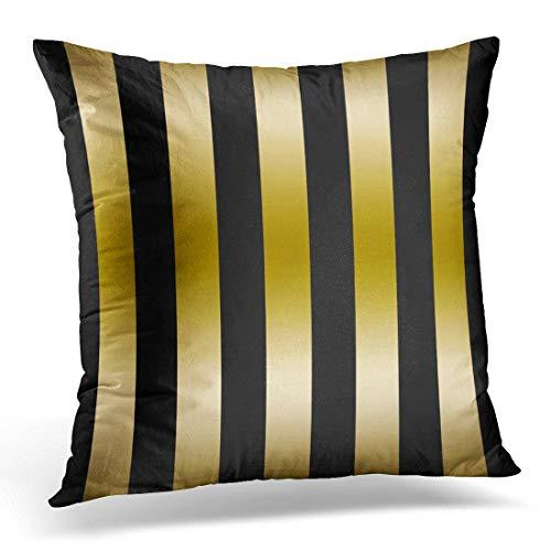 Jhonangel Throw Pillow Cover Abstract Elegant Gold and Black Stripes Patrones geométricos Funda de Almohada Decorativa Decoración para el hogar Funda de Almohada Cuadrada 18x18inch