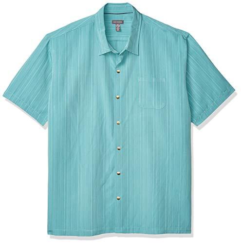 Van Heusen Men's Air Short Sleeve Button Down Poly Rayon Stripe Shirt, Harbor Blue, X-Large
